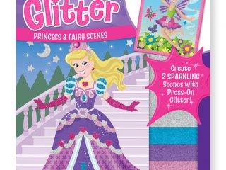 Öltöztetős, csillám matricás kreatív füzet (melissa&doug, Mess-Free Glitter Princess & Fairy Scenes, kreatív játék, 4-9 év)