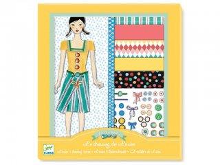 Öltöztetős játék, Louise ruhásszekrénye (Djeco, 9821, kreatív ruhatervező játék, 7-15 év)