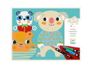 Öltöztetős színező készlet filctollal, Aranyos állatok, Djeco kreatív szett - 8992 (3-6 év)