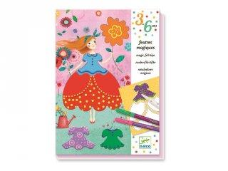 Öltöztetős színező készlet mágikus filctollal, Marie csodaszép ruhái (Djeco, 9886, kreatív játék, 3-6 év)