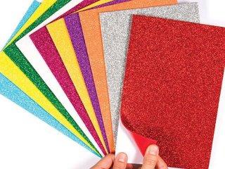 Öntapadós csillámos papírlap, 10db-os készlet (Baker Ross, kreatív matricakészítő készlet 3-12 év)