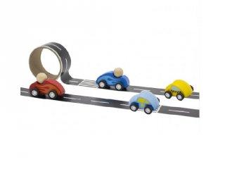 Öntapadós pálya kisautóknak 1 db autóval vegyes színben, fa szerepjáték (FP, 3-8 év)