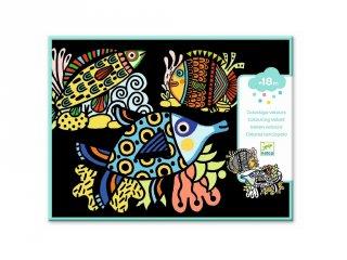 Óriás bársony színező, Halak (Djeco, 9098, kreatív képkészítő,18 hó-4 év)