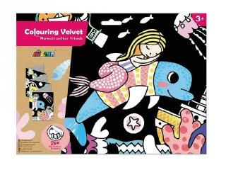 Óriás bársonyszínező matricákkal Sellő és barátai, kreatív készlet (Avenir, 3-7 év)
