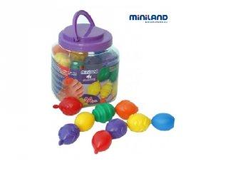Óriás gyöngy készlet (Miniland, 27361, 24 db-os kreatív játék, 2-5 év)