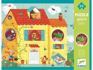 Óriás puzzle, 3D, A ház körül (Djeco, 7010, 12+8 db-os kirakó, 1-3 év)