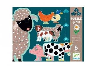 Óriás puzzle Farm állatai, Djeco vegyes darabszámú kirakó - 7112 (3-6 év)