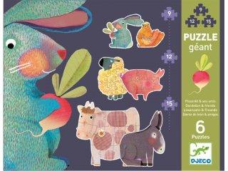 Óriás puzzle, Farmállatok (Djeco, 7145, vegyes darabszámú kirakó, 3-6 év)