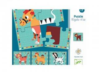 Óriás puzzle, Mókás négylábúak (Djeco, 1556, 4 féle 4 db-os kirakó, 1-3 év)