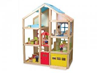 Óriási babaház bútorokkal, családdal (Melissa Doug, fa szerepjáték, 3-7 év)
