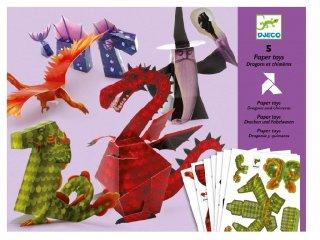 Origami, Sárkányok és mesebeli lények (Djeco, 9673, kreatív  játék, 6-11 év)