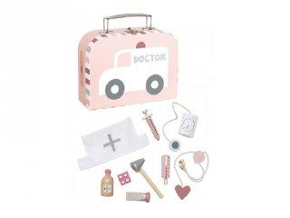 Orvosi táska pasztell rózsaszín, fa szerepjáték (Jabadabado, 3-7 év)