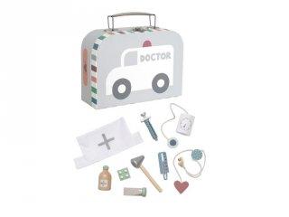 Orvosi táska pasztell szürke, fa szerepjáték (Jabadabado, 3-7 év)