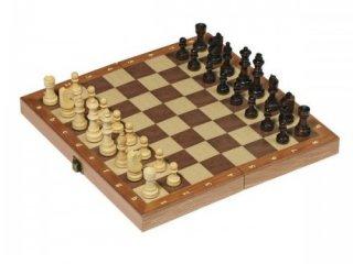 Összecsukható fa sakk (Goki, 30x30 cm-es, kétszemélyes stratégiai társasjáték 5-99 év)