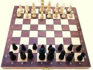 Összecsukható fa sakk (Goki, 38x38 cm-es, kétszemélyes stratégiai társasjáték,  6-99 év)