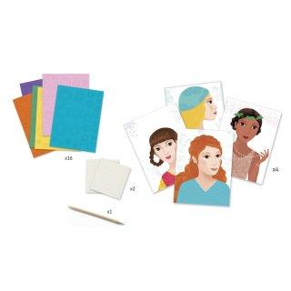 Papírvirág kép készítés, Lány virágokkal (Djeco, 9439, kreatív készlet, 7-13 év)