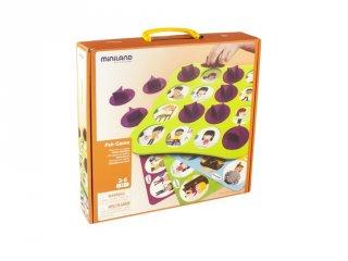 Párosító memóriafejlesztő társasjáték, értékekre nevelés (Miniland, 31925, logikai társasjáték, 3-6 év)
