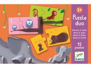 Párosító puzzle, Állatok és csemetéik (Djeco, 8157, 2 db-os kirakó, 2-5 év)