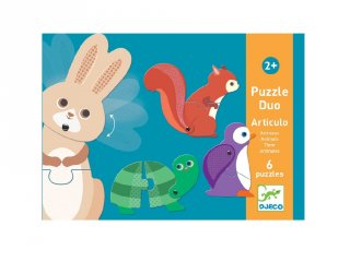 Párosító puzzle Mozgatható állatok, Djeco 2 db-os kirakó - 8175 (2-4 év)