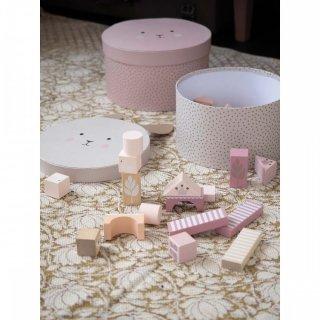 Pasztell rózsaszín építőkocka szett, 50 db-os fa bébijáték (Jabadabado, 2-5 év)