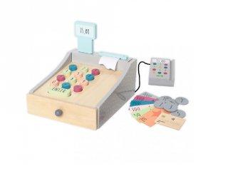 Pénztárgép kártyaolvasóval, fa szerepjáték (Jabadabado, 3-7 év)