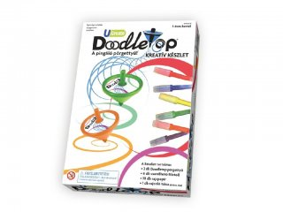 Pingáló pörgettyű készlet (University Games, Doodletop, 18 + 1 db-os kreatív design szett, 5-12 év)