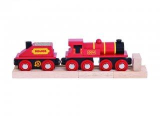 Piros mozdony és szenes vagon (Bigjigs, vonatos fajáték, 3-10 év)