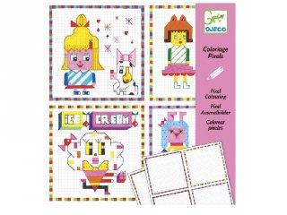 Pixel színező, Lányok (Djeco, 9643, kreatív képkészítő, 7-13 év)