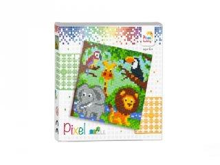 Pixelhobby képkészlet, Állatkert (44001, 4db 6x6-os alaplap + színek, 7-99 év)