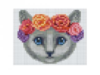 Pixelhobby képkészlet, barna cica rózsa koszorúval (801375, 1db alaplap + színek, 7-99 év)