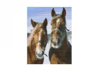 Pixelhobby képkészlet, barna lovak (804194, 4db alaplap + színek, 7-99 év)