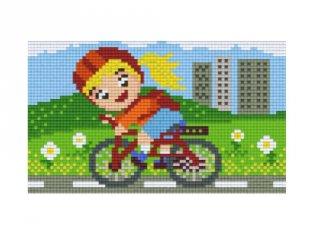 Pixelhobby képkészlet, bicikliző kislány (802046, 2db alaplap + színek, 7-99 év)