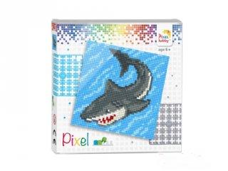 Pixelhobby képkészlet, Cápa (44005, 4db 6x6-os alaplap + színek, 7-99 év)