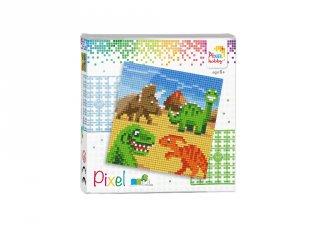 Pixelhobby képkészlet, Dínók (44019, 4db 6x6-os alaplap + színek, 7-99 év)