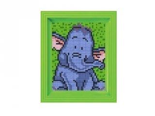 Pixelhobby képkészlet, elefánt (31046, 10x12 cm-es alaplap, színek, képkeret, 7-99 év)