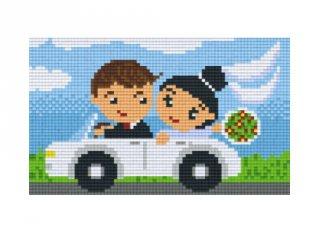 Pixelhobby képkészlet, esküvői autó (802068, 2db alaplap + színek, 7-99 év)