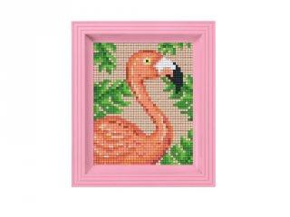 Pixelhobby képkészlet, Flamingó (31435, 10x12 cm-es alaplap, színek, képkeret, 7-99 év)