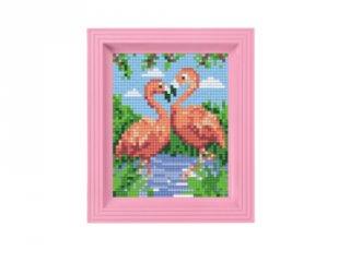 Pixelhobby képkészlet, Flamingó pár (31442, 10x12 cm-es alaplap, színek, képkeret, 7-99 év)