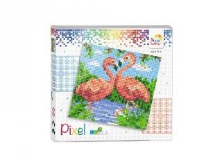 Pixelhobby képkészlet, Flamingók (44002, 4db 6x6-os alaplap + színek, 7-99 év)