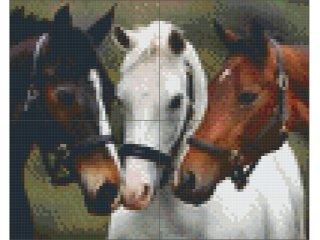 Pixelhobby képkészlet, három ló (4db alaplap+színek díszdobozban, 7-99 év)