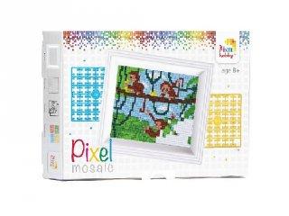 Pixelhobby képkészlet, játékos majmok (31255, 10x12 cm-es alaplap, színek, képkeret, 7-99 év)