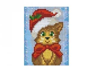 Pixelhobby képkészlet, karácsonyi cica (801422, 1db alaplap + színek, 7-99 év)