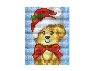 Pixelhobby képkészlet, karácsonyi maci (801421, 1db alaplap + színek, 7-99 év)