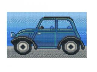 Pixelhobby képkészlet, kék retro autó (802089, 2db alaplap + színek, 7-99 év)