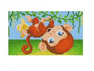 Pixelhobby képkészlet, kis majom (802087, 2db alaplap + színek, 7-99 év)