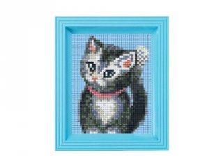Pixelhobby képkészlet, kölyök cica (31233, 10x12 cm-es alaplap, színek, képkeret, 7-99 év)