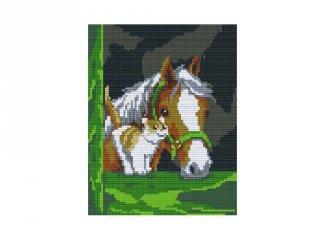 Pixelhobby képkészlet, ló és macska (804101, 4db alaplap + színek, 7-99 év)