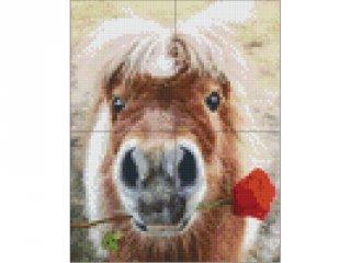 Pixelhobby képkészlet, ló rózsával (4db alaplap + színek díszdobozban, 7-99 év)