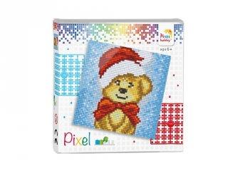 Pixelhobby képkészlet, Mikulás maci (44018, 4db 6x6-os alaplap + színek, 7-99 év)
