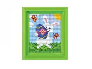 Pixelhobby képkészlet, Nyuszi tojással (31398, 10x12 cm-es alaplap, színek, képkeret, 7-99 év)